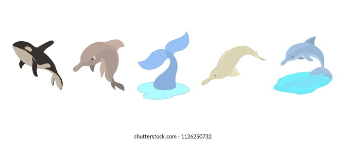 Sea mammals icon set. Cartoon set of sea mammals icons for web design isolated on white background