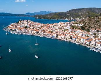 Sea Marina in Poros island aerial view, Aegean sea, Greece.