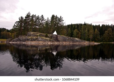 Sea mark on a  rocky islet at Saimaa Lake District in Finland