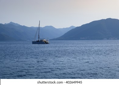 Sea of Marmaris with a boat