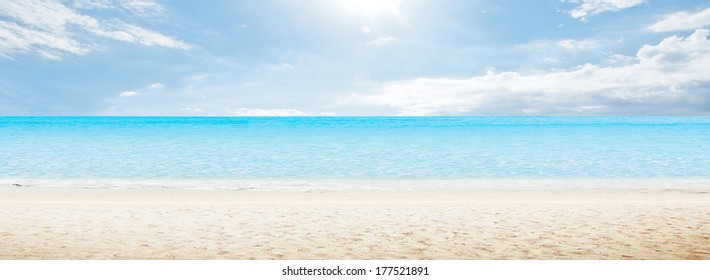 Sea morning panorama. Tropical horizontal composition