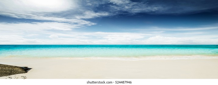Sea morning panorama. Tropical horizontal composition