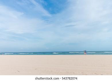 Sea morning panorama. Tropical horizontal composition. Bali island, Indonesia.