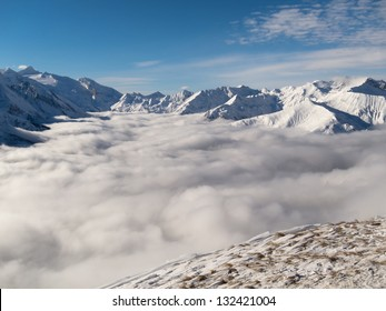 Sea of ??clouds in a mountain landscape in winter