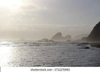 sea mountain rocks misty morning ocean northern California