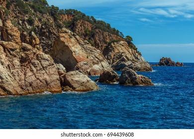 Sea mountain shore. The rocks of the Costa Brava coast