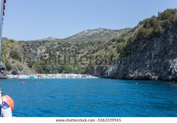 Sea, mountains and rocks