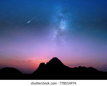 Sea of mountains, the sky, the Milky Way.