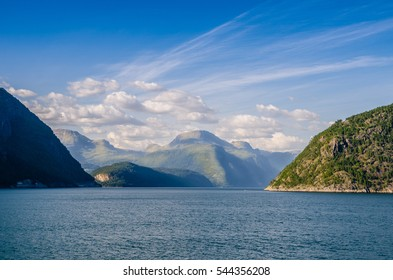 Sea and norwegian fjords in summer
