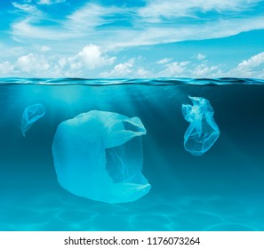 Sea or ocean underwater with plastic bags. Environment pollution ecological problem.