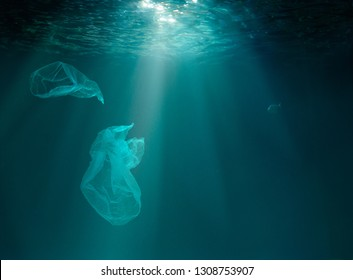 Sea or ocean underwater with plastic pollution.