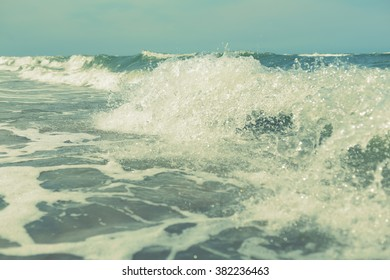 sea ocean water waves splash abstract background, filter, shallow depth of field