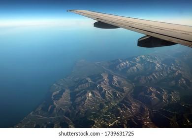Sea of Okhotsk coast view from the plane, Magadan region, Far East Russia