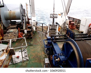 The Sea of Okhotsk / Russia - August 01 2015: Box core sampler and winch on the stern of RV Akademik Lavrentyev