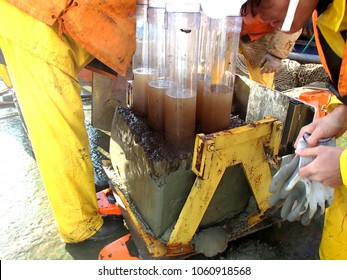 The Sea of Okhotsk / Russia - July 17 2015: The multicore and box core samples on the deck of RV Akademik Lavrentyev