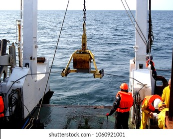 The Sea of Okhotsk / Russia - July 18 2015: The box core deployment