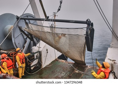 Sea of Okhotsk / Russia - July 2015: Agassiz Trawl deployed by scientific team at the deck of RV Akademik M.A. Lavrentyev after the sampling in abyss
