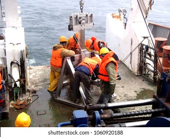 The Sea of Okhotsk / Russia - July 22 2015: The box core deployment