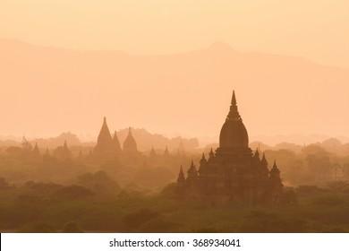 A sea of pagoda is in Bagan, Myanmar.