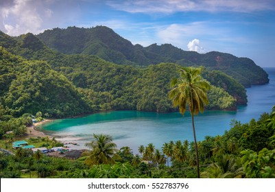 Sea and palm trees in Saint Vincent and the Grenadines, beautiful exotic paradise with mountains and beautiful perfect beaches and colorful turquoise and emerald colored water