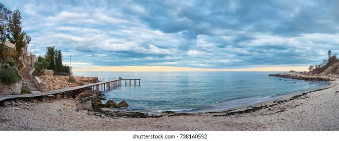 Sea Panorama with dramatic sky. Romantic beach on the Black Sea in Bulgaria, Varna, St Constantine and Elena The Bay