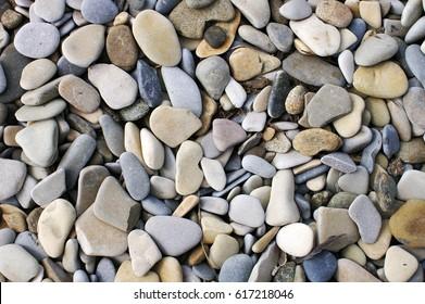 Sea pebbles: light gray, dark gray, beige