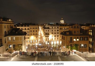 The sea of people in Piazza di Spagna and Via Condotti, Rome, during a Pope visit on december 2006