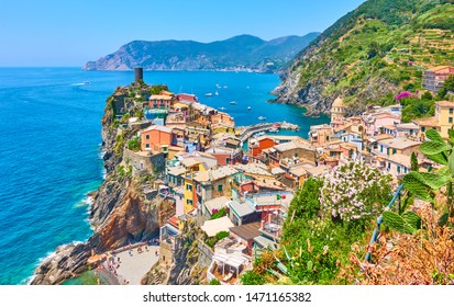 The sea and picturesque Vernazza small town in Cinque Terre National Park, Liguria, Italy