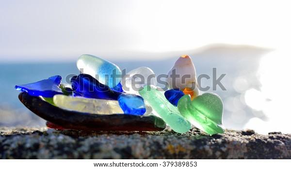 Sea polished glass.