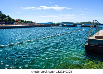 Sea pool for water polo and bridges on the Vodice beaches, Croatia.