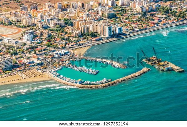Sea Port City Larnaca Cyprus View Stock Photo Edit Now 1297352194