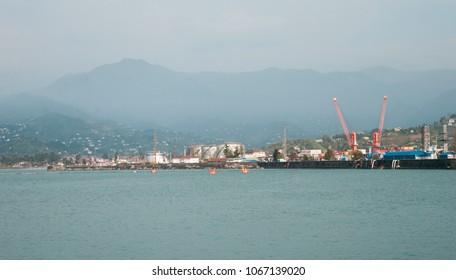Sea port in evening, Batumi. Georgia