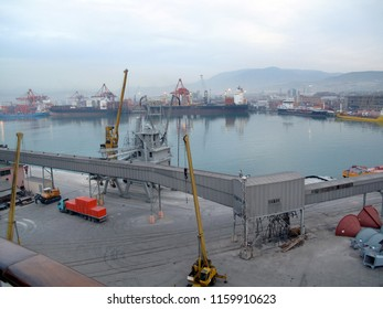 Sea port harbor with working machinery