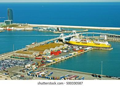 Sea port. Summer, boats, sea. Barcelona, Spain