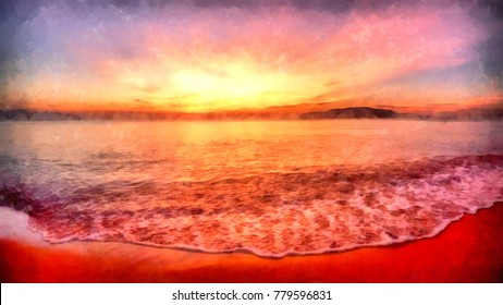 The sea at the red sunset in Asia painted in watercolor