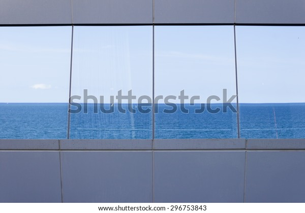 Sea Reflected Glass Modern Building Window Stock Image | Download Now