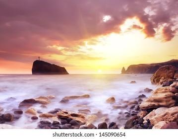 Sea and rock in Crimea