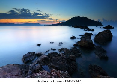 Sea and rock at the sunrise. Nature composition, thailand