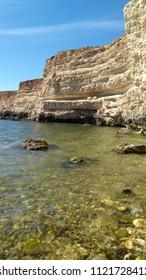 sea shore and rocks, Black Sea, Crimea, stony sea coast, summer landscape