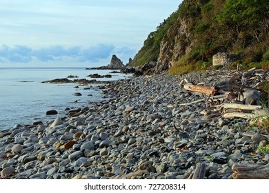 Sea, rocks, stone beach. Tachingoza Bay. Primorye. Russia.