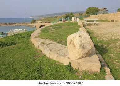 Sea and Ruins of Biblical City of Achziv in the Mediterranean Coast of Israel