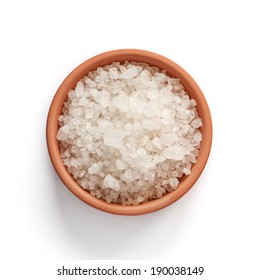 Sea salt in bowl on white background with clipping path