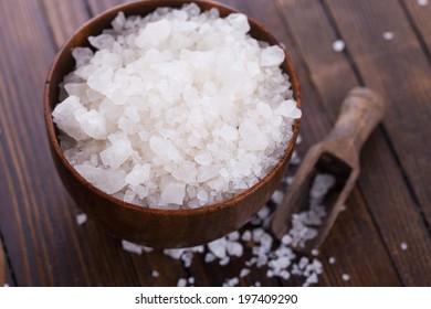 Sea salt for cooking. Selective focus, horizontal.