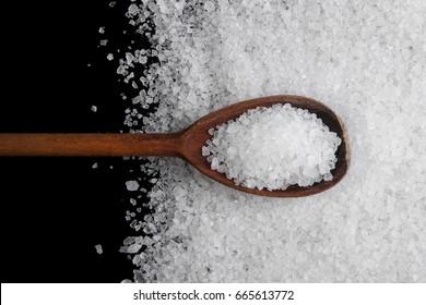 Sea salt crystals on a black background