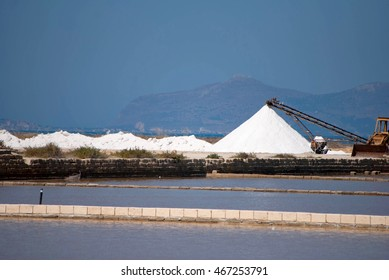 A Sea Salt Factory in Trapani, Sicily, Italy