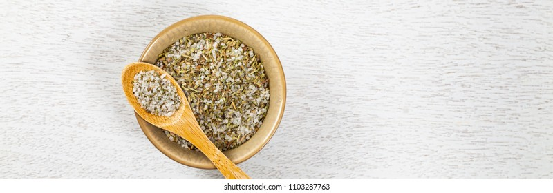 Sea Salt and Herb Seasoning. Panoramic image. Selective focus.