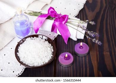 Sea salt with lavender, body care, spa salon.