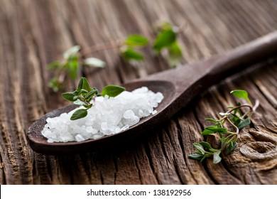 sea salt on spoon and thyme