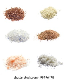 Sea Salt on white collection : Red hawaiian, Grey, Himalayan, Blue Persian, Camargue, Spice Rub