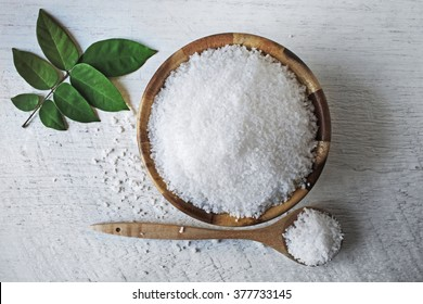 sea salt on wooden background